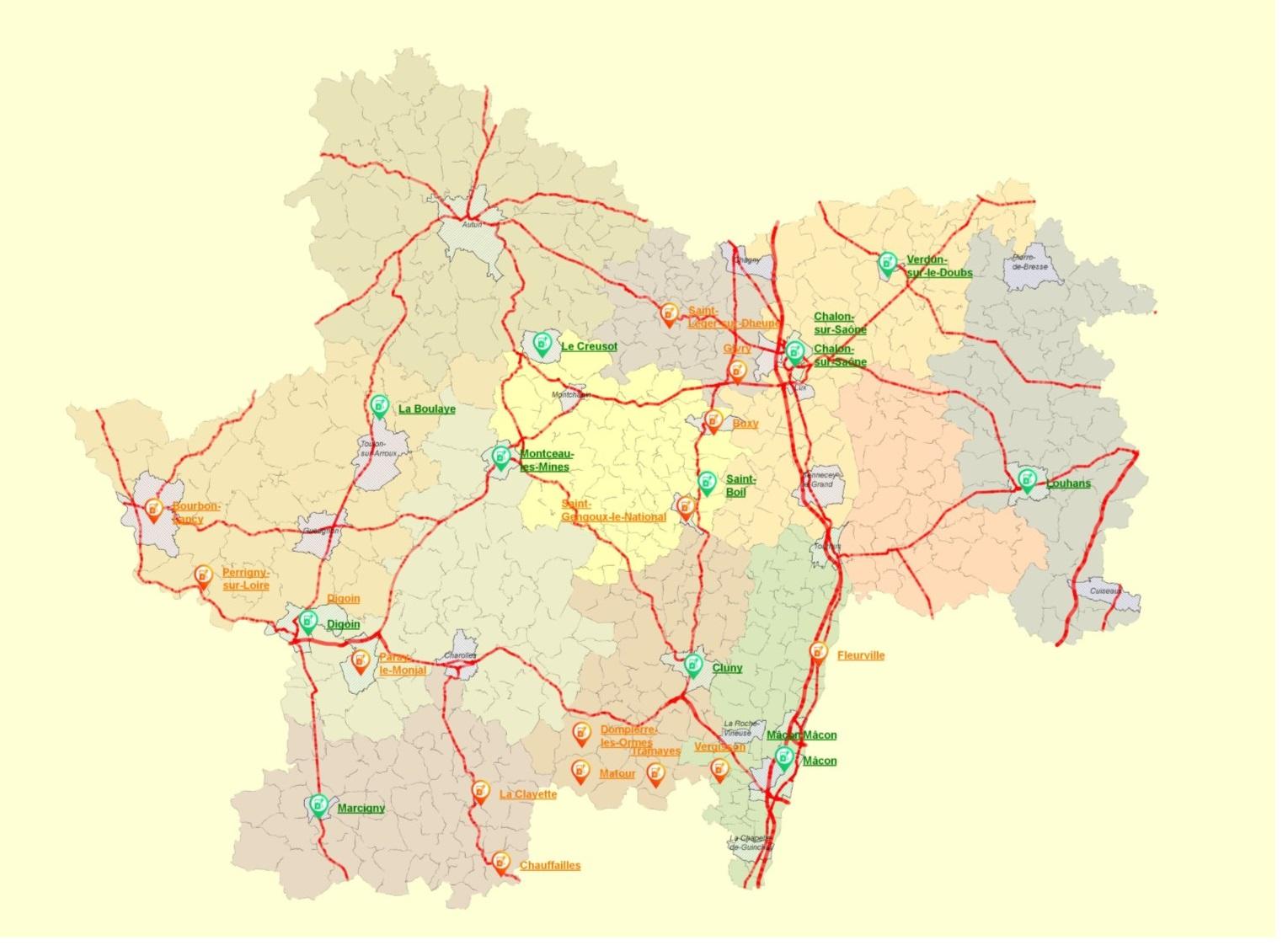 Carte déploiement prévisionnel du réseau public de bornes de recharge pour véhicules électriques.